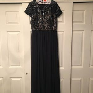 Black Maxi Dress with Sequined Bodice